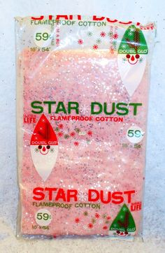 Vintage Christmas XMAS PINK STARDUST DOUBLE GLO Flameproof Cotton Fabric Glitter