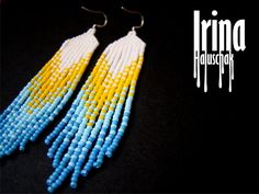 Beaded earrings, seed bead earrings, modern earrings, fringe earrings, beadwork…
