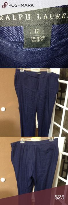 Ralph Lauren Blue Linen Pants Sz 12 In good condition. No rips or stains just needs ironing. Wide leg pants. Sits at hip. Ralph Lauren Pants Wide Leg