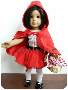 Dress up your dolly in a one of a kind piece, only found here @ https://www.etsy.com/listing/206164265/lil-red-costume-for-american-girl-and