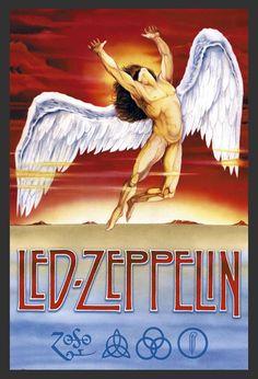 Poster com Moldura Quadro Decorativo Led Zeppelin Swan Song 64x94cm - Decore Pronto