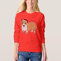 #Merry Christmas Corgi Women's Raglan Sweatshirt - #Xmas #ChristmasEve #Christmas #merry #xmas #family #holy #kids #gifts #holidays #Santa