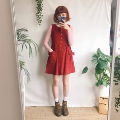Deep strawberry red cord mini pinafore in - Depop Edgy Outfits, Retro Outfits, Vintage Outfits, Cool Outfits, Vintage Fashion, Belted Dress, Dress Up, Moda Ulzzang, Mode Hipster
