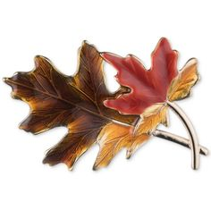 Anne Klein Gold-Tone Autumn Leaves Enamel Pin found on Polyvore featuring jewelry, brooches, gold, enamel brooches, enamel charms, pin brooch, leaves jewelry and gold tone jewelry