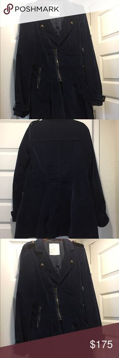 FREE PEOPLE Not your brothers coat... This is a military inspired exposed zipper and buttons coat. This jacket is made very well pleats on back bottom see pic 4.. zipper and Button closure on front pocket on sides.long sleeves, button cuffs, Size 8 hits just below the hips.. measures from top to bottom Free People Jackets & Coats