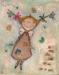 Print of my original folk art painting -  A Little Help - Fairy, angel, friends, birds, butterfly, bees. $10.00, via Etsy.