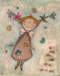 Print of my original folk art painting - A Little Help - Fairy, angel, friends, birds, butterfly, bees. $10.00, via Etsy.