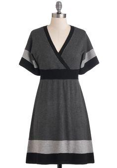 Monochrome Sweet Home Dress - Grey, Black, Casual, Short Sleeves, Fall, Mid-length, Sweater Dress