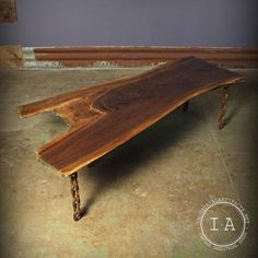 This vintage walnut coffee table measures 58 1/2 long x 25 1/2 wide. It features four welded chain link legs that raise the table height to 17. This beautiful wooden top is walnut. Please take a close look at all of the photos. *Bulbs for light fixtures are not included unless specified   I also have a wonderful selection of other industrial artifacts, please feel free to browse! Please give us a call with any questions you may have 815.501.0051 (Ethan)   SHIPPING PRICES REFLECT THE FACT…