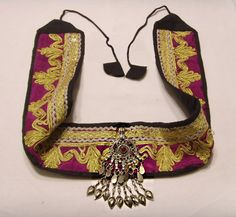 Vintage Kuchi Tribal Metallic Embroidered Large Pendant Belt Bellydance