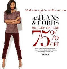 Buy One Get One 75% off All Denim Jeans & Cords - New York  & Company. on DealsAlbum.com