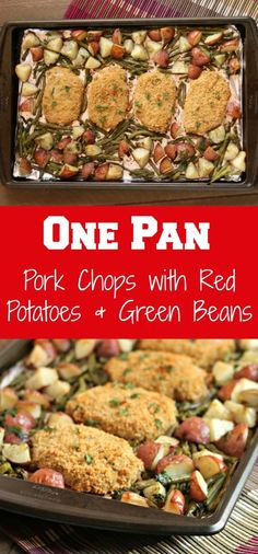 one pan pork chops with red potatoes & green beans via www.chocolateslop… one pan pork chops with red potatoes & green beans via www. Pan Pork Chops, Pork Chops And Potatoes, Breaded Pork Chops, Green Beans And Potatoes, Baked Pork, Meals With Pork Chops, Pork And Green Beans Recipe, Pork Chop Meals, Baked Red Potatoes