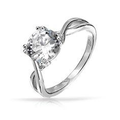Round Solitaire CZ Twisted Band Engagement Ring 8mm