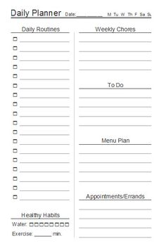 Half-size daily planner from ContentedAtHome.com