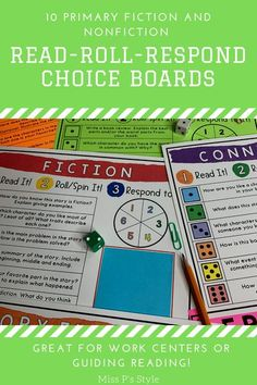 Choice boards are engaging for students! Students will read a text and roll a dice or spin a paperclip to land on a reading response question. They can use a sticky note to respond on the page! These also come digital - compatible with Google Slides. There are 10 choices boards included covering many categories like fiction, nonfiction, biography, characters, etc. Perfect for literacy work stations!