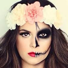 Image result for skull makeup half face