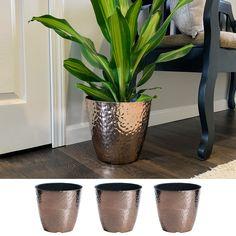 Misco 3 Pack 10 Inch Round Metallic Hammered Plastic Flower Pot Garden Planter, Copper