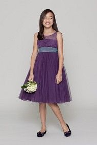 Watters and Watters Seahorse Flowergirl Style 45111 DARLA features: Plum bobbinet sleeveless round neck dress with draped bodice and lilac luminescent taffeta sash at waist