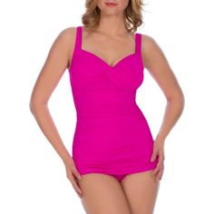 Suddenly Slim by Catalina Women's Slimming Glam Shirred One-Piece Swimsuit
