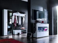 Weiße Garderobenkombination Rubin III - 5 Teilig  #weiß #möbel #flur #garderobenkombination