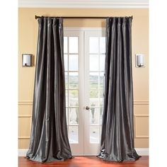 @Overstock - Solid Faux Silk Taffeta Graphite Curtain Panel - These beautifully refined curtains bring a regal touch to picture windows and French doors. Carefully crafted in faux-silk taffeta for a subtle shine, these gunmetal gray curtains are the perfect statement piece for your home.  http://www.overstock.com/Home-Garden/Solid-Faux-Silk-Taffeta-Graphite-Curtain-Panel/5624128/product.html?CID=214117 $85.49