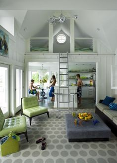 pool/beach house with a loft