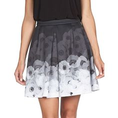 Cece By Cynthia Steffe Floral Pleated Skirt ($89) ❤ liked on Polyvore featuring skirts, rich black, floral print skirt, pleated skirt, long black skirt, long floral skirts and floral skirt