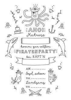 Soon it starts - we want to raise a pirate party! For this collect .- Bald geht's los – wir wollen eine Piratenparty steigen lassen! Dafür samme… Soon it starts – we want a pirate party … - Diy Birthday Frame, Diy Birthday Food, Pirate Birthday, Hawaiian Birthday, Birthday Cards, Birthday Ideas, Birthday Parties, Pirate Invitations, Party Invitations Kids
