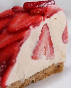 No-Bake Strawberry Cheesecake Dome Recipe by Tasty