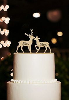 2 Deers with Mr and Mrs Wedding Cake Toppers Personalized Rustic Wood Keepsake Cake Toppers woaijia0 http://www.amazon.com/dp/B016OE75FI/ref=cm_sw_r_pi_dp_IKTPwb061TE93