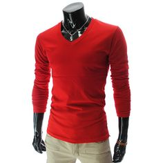 CA THELEES Mens Casual Slim Fit V Neck Long Sleeve Solid Plain T Shirts | eBay