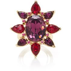 Oscar de la Renta Tropical Bloom Star Ring ($122) ❤ liked on Polyvore featuring jewelry, rings, pink, charm rings, pink ring, pink jewelry, oscar de la renta jewelry and star jewelry