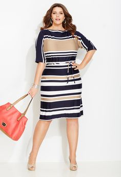 We CAN were stripes!!! Striped Boatneck Sheath Dress | Plus Size New Arrivals | Avenue