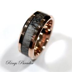 Real Antler Elk Ring, Men's Tungsten Ring, Wedding Band, Engagement Rings, Mens Tungsten Band, Antler Wedding Band, Mens Ring, Promise Rings