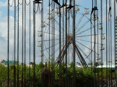 Abandoned Six Flags New Orleans in chains