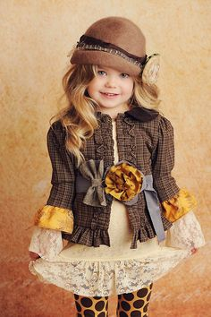 kids Stella brown, Lace top, Gold dot legs « Fancy Little Frocks