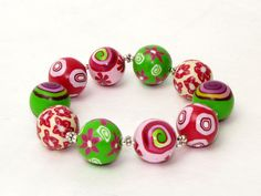 Spring is comming handmade bracelet from polymer clay from germany, millefiori, millefleur, Fimo Art Clay SRA. $30.00, via Etsy.