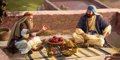 Samuel y Saúl comiendo juntos en la azotea de una casa