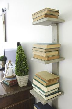 How to Make a Vertical Bookshelf | eHow Vertical Bookshelf, Small Bookshelf, Wall Bookshelves, Book Shelves, Bookshelf Table, Book Storage, Student Room, Furniture For Small Spaces, Space Furniture