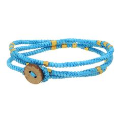 Turquoise tone faux leather braided style wrapping bracelet accented by small gold tone beads with a wooden style button closure.