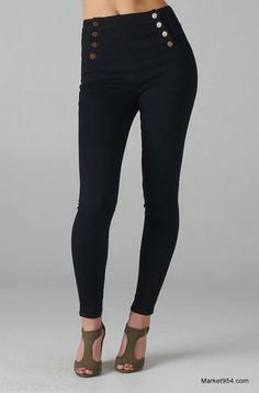 PLUS-SIZE-Stretch-Pants-Sailor-Skinny-gold-Buttoned-Jeans-Jeggings-Denim-Black