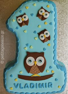 "Petits Gâteaux: ""Νο. 1¨ owl themed birthday cake"