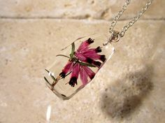 Heather Flower Necklace Froral pendant plant jewelry by Chaerea