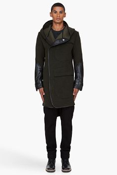 Denis Gagnon Olive Hooded Leather Trimmed Wool Coat for Men