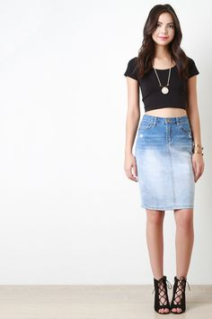 Ombre Pencil Denim Skirt