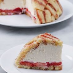 Strawberry Shortcake Cheesecake Dome (Charlotte Royale) Recipe by Tasty Strawberry Shortcake Cheesecake, Shortcake Recipe, Strawberry Jam, Vegan Shortcake, Peach Shortcake, Shortcake Biscuits, Strawberry Brownies, Just Desserts, Delicious Desserts