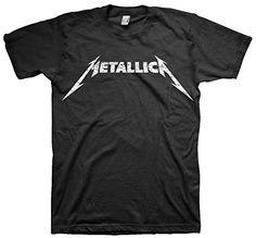 Metallica Men's Black and White Logo T-shirt Black M