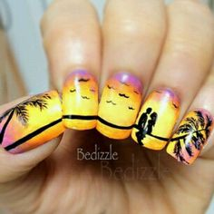 Beach Tropical Paradise Nails Together