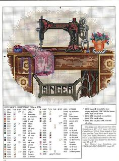Cross Stitch Charts Vintage Singer sewing machine free cross stitch pattern by alissa Counted Cross Stitch Patterns, Cross Stitch Designs, Cross Stitch Embroidery, Embroidery Patterns, Hand Embroidery, Free Cross Stitch Charts, Vintage Sewing Machines, Cross Stitching, Crossstitch