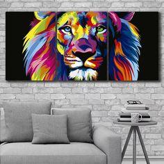 Cuadros Modernos Tripticos Leon Colores Animales 132x62cms - $ 2.190,00 en Mercado Libre Lion Sculpture, Draw, Statue, Wallpaper, Mini, Painting, Design, Lion Painting, Paintings